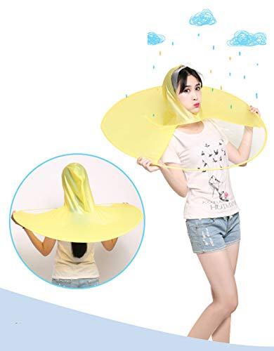 Wantis Magical Rain Coat Artifact UFO Umbrella Hands Free Charming Costum Yellow (1.55-1.8M(height))