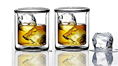 Strong | Double-Wall Insulated Tumbler Set by Sun's Tea (Tm) | 9oz | Double Rocks Glass Old Fashioned Whiskey Glasses – (set of 2) Borocilicate Drinking Glasses