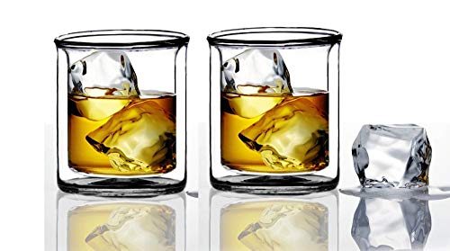 Strong | Double-Wall Insulated Tumbler Set by Sun's Tea (Tm) | 9oz | Double Rocks Glass Old Fashioned Whiskey Glasses - (set of 2) Borocilicate Drinking Glasses