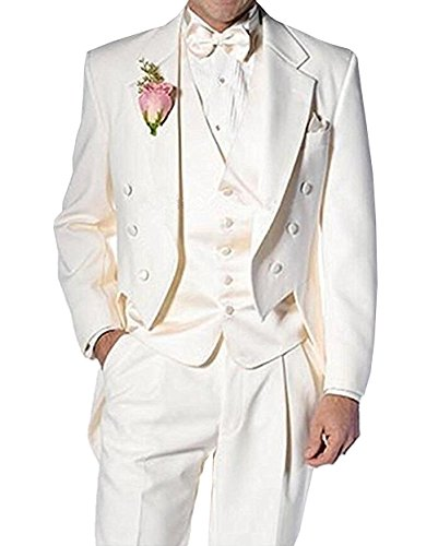 Fitty Lell Men's Suit 3 Piece Formal Tuxedo Groom Jacket Tux Vest & Trousers Set Wedding Suits(42 Regular,Ivory) by Fitty Lell