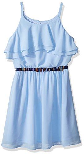 Front Ruffle Dress (Amy Byer Girls' Big Ruffle Front Chiffon Dress, sea Slate, 14)