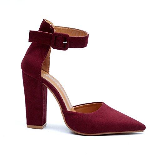 Boca Highxe Con Acentuados De Eu39 Zapatos Moda Poco Tacón 5 Red uk6 Tamaño Mujer Gruesos Gran Sandalias eu36uk4 Alto Gamuza Profunda rr7nWc