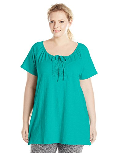 Just My Size Women's Plus-Size Slub Jersey Crochet Trim Tunic with Drawcord, Eco Teal, 3X