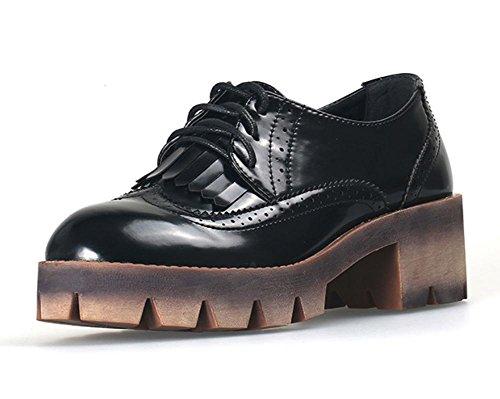 boca profunda solos zapatos de mujer zapatos gruesa corteza Sra zapatos del resorte y del otoño con el grueso cinturón de cuero Sra Departamento , US6 / EU36 / UK4 / CN36