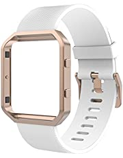 Anjoo Compatible Fitbit Blaze Bands, Silicone Replacement Strap Wristband Frame Case Fitbit Blaze Smart Fitness Watch, Large/Small