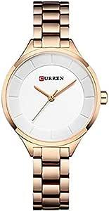 Curren 9015 Quartz Movement Round Dial Stainless Steel Waterproof Women Watch -Rose Gold, White