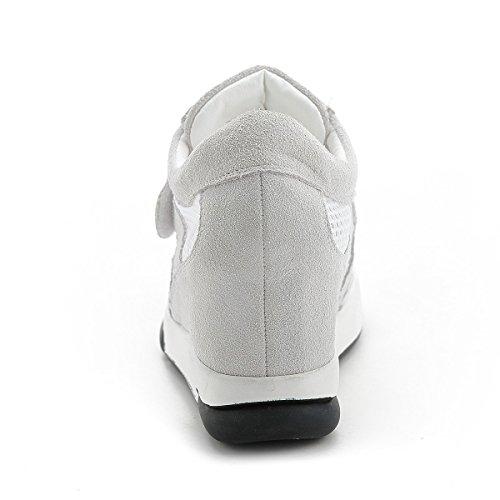 No.66 Ville Femmes Premium Mesh Chaussures De Marche À Lacets Coins Plate-forme Mocassins Gris
