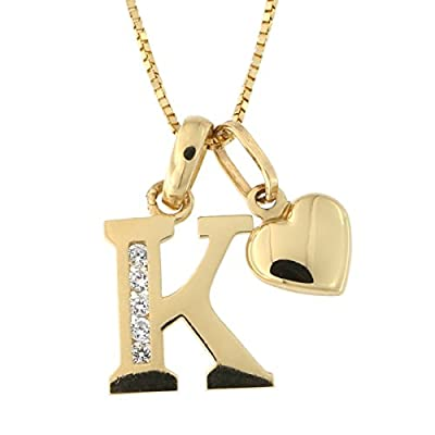 """14k Yellow Gold Cubic Zirconia Initial Pendant with Heart Charm 16"""" Necklace"""