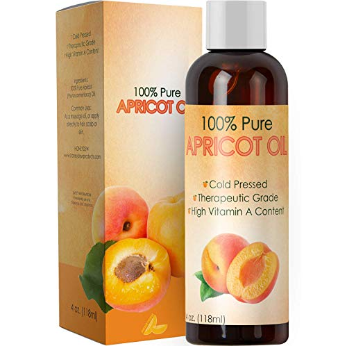 Pure Apricot Oil for Face Healthy Skin and Hair Growth - Cold Pressed from Apricot Kernel Seeds - Massage Carrier Oil for Essential Oils for Aromatherapy - Natural Dry Skin Moisturizer with Vitamin E ()