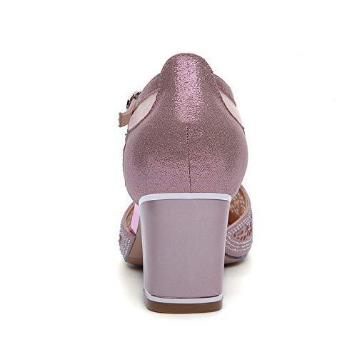 8cm Alla silvery alti fibbie puntata e sexy spessa sandali forato AJUNR Donna 6 da scarpe svuotata tacchi solo scarpe Moda UqHz5Y4