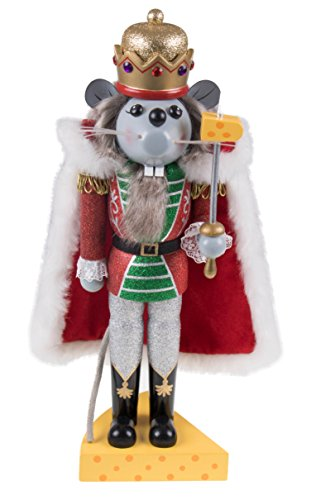 [Wooden Glittery Nutcracker Mouse King with Sword and Cheese Stand - 14