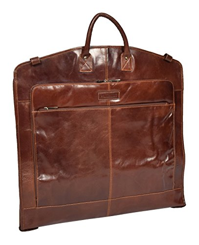 Luxury Leather Suit Carrier Bag Brown Suiter Case Dress Garment Cover Bag - Logan by A1 FASHION GOODS
