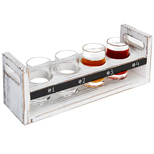 - MyGift Rustic Antique White Wood 5 pc Craft Beer Flight Tasting Serving Set with 4 Glasses & Chalkboard Panel