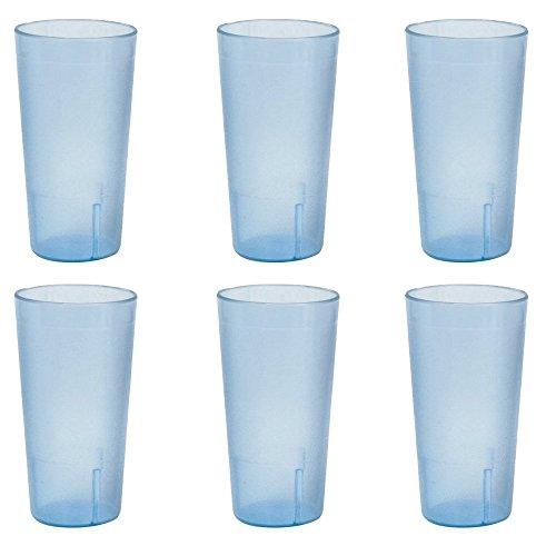 12 oz. (Ounce) Restaurant Tumbler Beverage Cup, Stackable Cups, Break-Resistant Commmerical Plastic, Set of 6 - Blue (Beverage Tumbler)