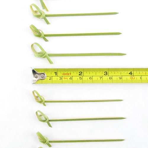 BambooMN 3.5'' Bamboo Green Knotted Knot Skewers Picks for Cocktails and Hors' D'oeuvres Party Supplies, 1000 Pieces by BambooMN (Image #2)