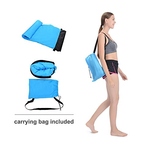 Beiruoyu BNY Inflatable Lounger Air Sofa Couch Lounge Bag Chair Hammock with Carrying Bag for Indoor or Outdoor Beach Camping Picnics (Sky-Blue)