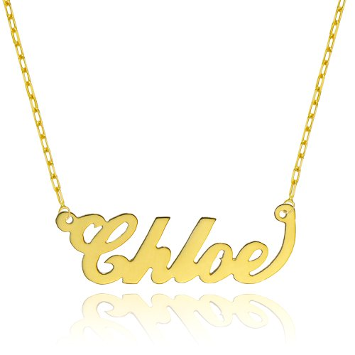 14K Yellow Gold Personalized Name Necklace - Style 1 (18 Inches, Elongated Cable Chain) 14k Yellow Gold Name Pendant