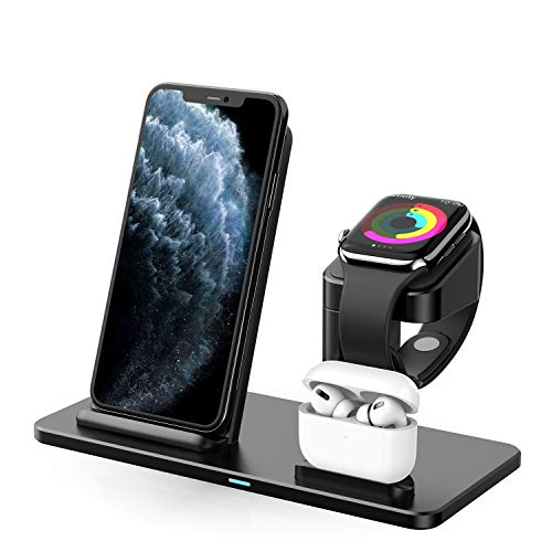 ABKUL Wireless Charger, 3 in 1 Aluminum Alloy Charging Station for Apple Watch, Aipods Pro, Wireless Charging Stand Dock for iPhone 11 Pro Max/X/XS/XR/Xs Max/8/8 Plus - Qi/MFi Certified- QC3.0 Adapter