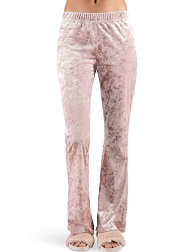 Rebel Canyon Young Women's Crushed Velour High-Waisted Flare Lounge Pant X-Small Mauve Crushed Velour Pant