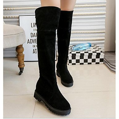For US6 Winter UK4 Burgundy Boots Boots Gray 5 Knee Beige 7 Comfort Nubuck EU37 Fall Fashion Shoes RTRY 5 High CN37 Casual 5 Boots Black Leather Women'S XnqwHWOC