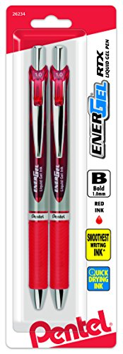 Pentel EnerGel RTX Retractable Liquid Gel Pen, Bold Line, Metal Tip, Red Ink 2-Pack (BL80BP2B)