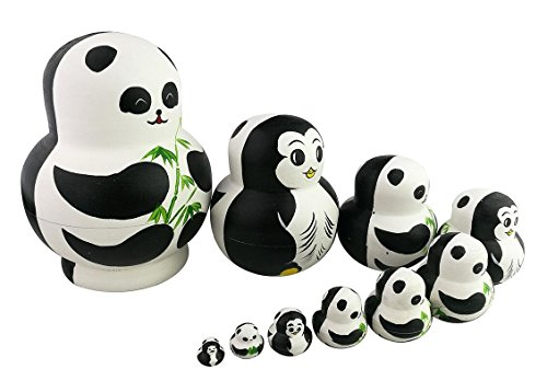 Set Nesting - Winterworm Cute Creative Animal Two-Sided Panda and Penguin Handmade Wooden Matryoshka Dolls Russian Nesting Dolls Set 10 Pieces for Kids Toy Birthday Home Decoration