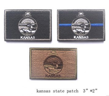 3pcs Kansas State FLAG TACTICAL US ARMY USA MILITARY MORALE VELCRO PATCH (a set) (4)