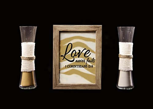 (Rustic Barn Wood Wedding Unity Sand Ceremony Frame Set - Love Never Fails)