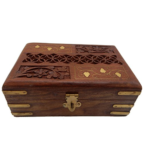 - Khandekar (with device of K) Wooden Handmade Carving-Inlay Work with Jali Design Jewelry Box, Storage Box, Vintage Box, Jewelry Organizer Box, 6 X 4 Inch,