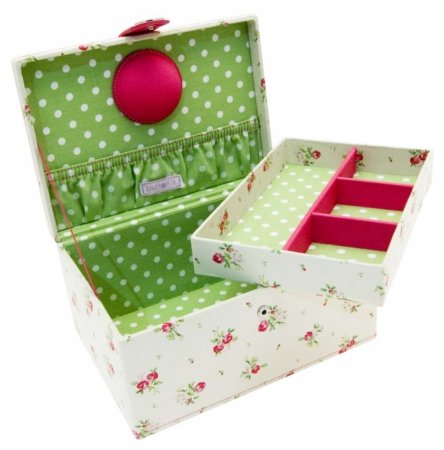 **SPECIAL OFFER 40% OFF** Button It | Country Floral | medium cream floral sewing box with green polka dot lining