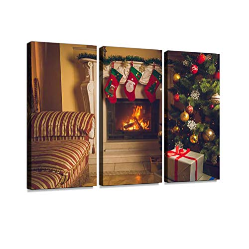 Living Room with Burning Fireplace and Decorated Christmas Tree Print On Canvas Wall Artwork Modern Photography Home Decor Unique Pattern Stretched and Framed 3 Piece