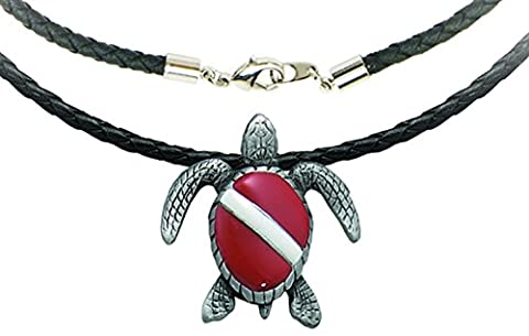 Innovative Scuba Concepts Dive Flag Turtle Pewter Necklace with 18