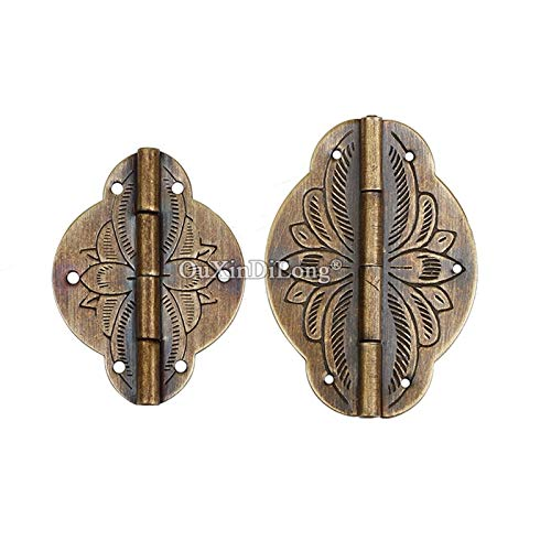 European Antique 100PCS Brass Jewelry Boxes Hinges Drawer Cabinet Wooden Furniture Small Hinges DIY Decorative Hardware - (Color: Brass 43mm)