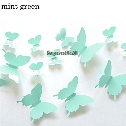 Ainest 3D DIY Wall Sticker Stickers Butterfly Home Decor Room Decorations Mint (Mint Room Decor)