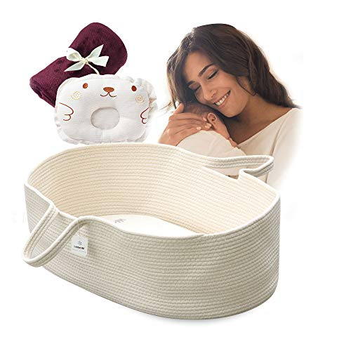 ICEBLUE HD Moses Basket Cotton Rope Specious Newborn Cradle Bassinet Baby Nest Bed Travel Bed Baby Shower Gift with Portable Handles Cream Color
