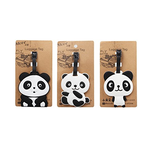 Set of 3 - Super Cute Kawaii Cartoon Silicone Travel Luggage ID Tag for Bags (Panda 2) by AG Toys