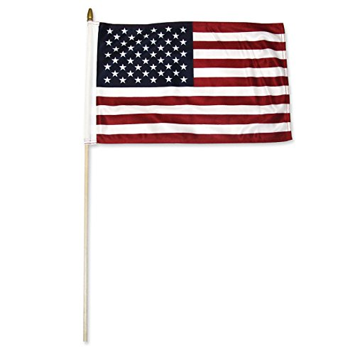 ALBATROS 50 Pack 12 inch x 18 inch USA American Stick Flag with Wood Staff (24 inch Staff) for Home and Parades, Official Party, All Weather Indoors Outdoors]()