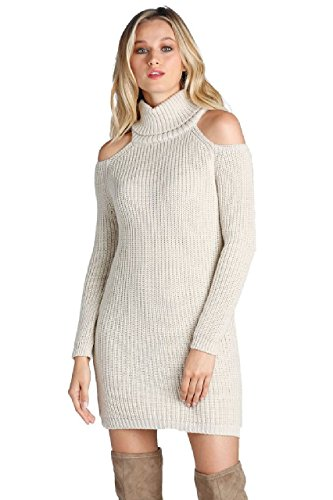 ELAN Women's Cold Shoulder Turtleneck Sweater Dress | Turtle Neck Sweater Dress