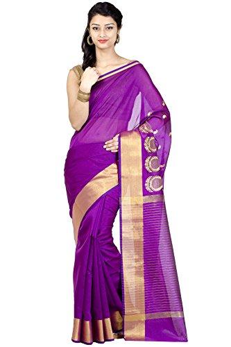 Chandrakala Women's Magenta Banarasi Art Silk Saree