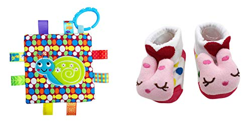 New Cute Baby Cat Socks & Little Taggie Snail Blanket Theme 2-Pack 3-12 Months w/Gift -