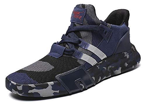 JIYE Men's Running Shoes Free Transform Flyknit Camouflage Fashion Sneaker,Blue,11 US Men