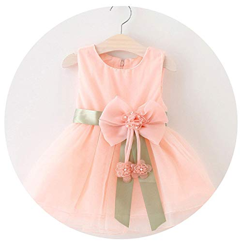 (Baby Girls Big Bowknot Infant Party Dress for Toddler Girl First Birthday Baptism Clothes,Pink,3T)