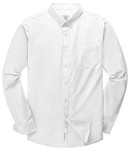 Men's Oxford Long Sleeve Button Down Dress Shirt with Pocket,White,Large