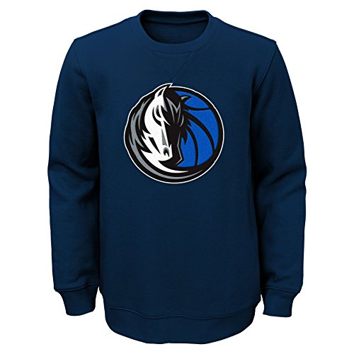 "NBA Dallas Mavericks Youth Boys ""Prime"" Pullover Fleece Crew, Medium(10-12), Dark Navy"
