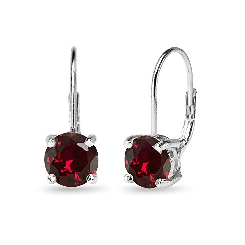 Sterling Silver Polished Created Ruby 7mm Round Dainty Leverback -