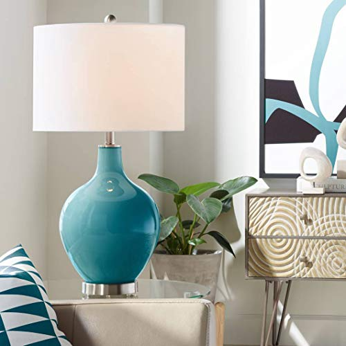 Modern Table Lamp Caribbean Blue Sea Glass OVO White Linen Drum Shade for Living Room Family Bedroom Bedside Office - Color + Plus