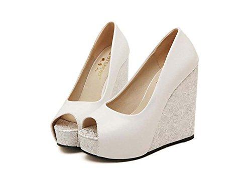 Farbdruck 44 Gericht beiläufige Schuhe Thick Eu cm Frauen Schuhe 34 Süße Toe Ferse Keilabsatz Kleid Partei Hochzeitsschuhe Peep 4cm 12 reine Weiß Schuhe Platform Pumpen 5 Größe nwU1U4Zx