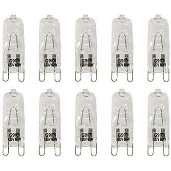 VSTAR 10PCS G9 Halogen Bulb,Clear G9 Bi-pin Base,120V 60W Base G9 Halogen Bulbs