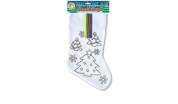 árbol de Navidad Colorea Tu Propio Calcetín & Fieltro Para Colorear Bolígrafos infantil personalizado diseño: Amazon.es: Juguetes y juegos