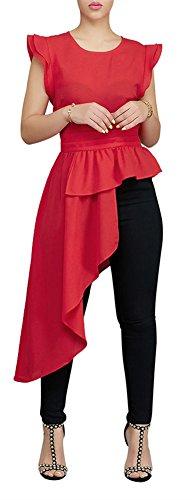 Speedle Women Crew Neck Cape Shoulder Peplunm Ruffled Overlay Asymmetrical Hem Top Tunic Shirt Red S